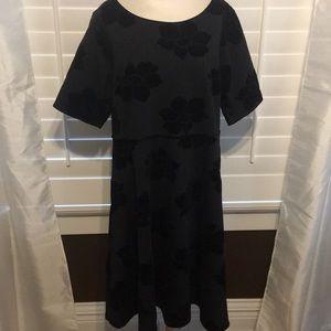 Lands End Black Dress w/ Velvet Accents - Sz 22